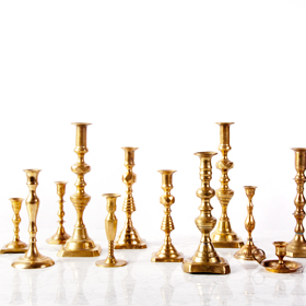 Brass candlestick rental / gold candle stick Toronto