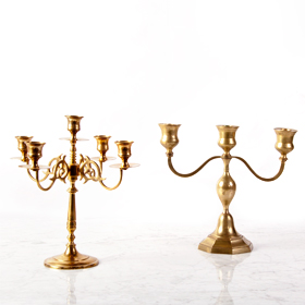brass gold candelabra rental