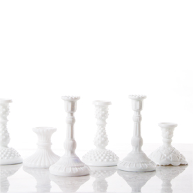 milk glass candle decor rental