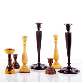 wood candlestick rental / boho decor rental