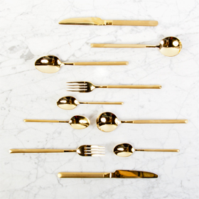 The Perfec Table matte gold flatware rental cutlery rental toronto