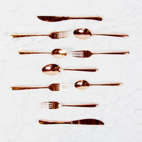 The Perfec Table rose gold flatware rental cutlery rental toronto
