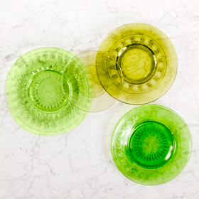 coloured glass plate green