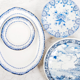 The Perfect Table - Blue White Serving Tray Rental