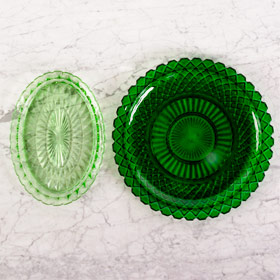The Perfect Table - Green Glass Serving Tray Rental