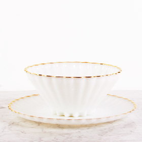 The Perfect Table - Fancy Blowl and Tray Rental Milk Glass